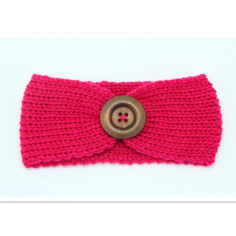 Handmade Children'S Big Button Knitted Hair Band - RED