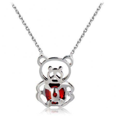 Silver Cutout Panda with Red Crystal Pendant Necklace - SILVER