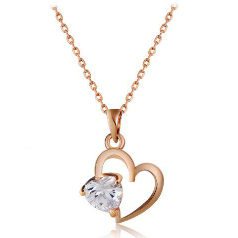 Golden Heart Shaped Plum Blossom Crystal Pendant Necklace - CHAMPAGNE GOLD