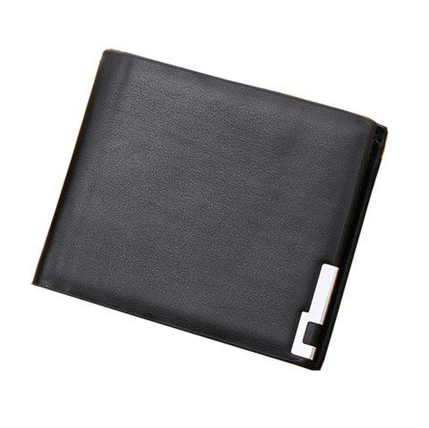 Fashionable Ultra-Thin Blue-Edged Short Men'S Wallet with Horizontal Wallet - BLACK 1PC
