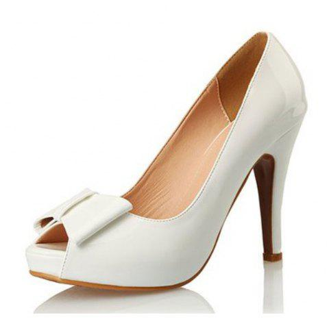 Patent Leather Fish Mouth Bow High Heel Water Resistant Large Size High Heel - MILK WHITE EU 39