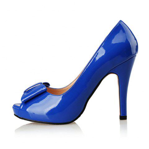 Patent Leather Fish Mouth Bow High Heel Water Resistant Large Size High Heel - BLUE EU 36