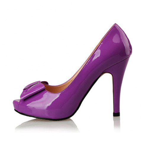 Patent Leather Fish Mouth Bow High Heel Water Resistant Large Size High Heel - MEDIUM ORCHID EU 35