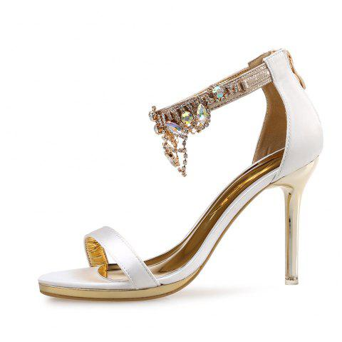 Rhinestone Tassel High Heel Open Toe Rear Zipper Fine Heel Women'S Sandals - WHITE EU 38