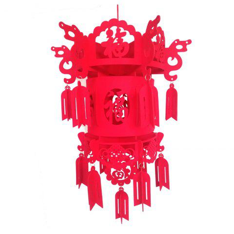 Festive Non-Woven Hollow Blessing Word Wedding Festival Decoration Lanterns - RED