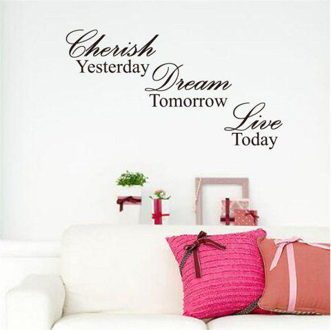 Yesterday Tomorrow Today Art Vinyl Mural Home Room Decor Wall Stickers - BLACK 31.5*57CM