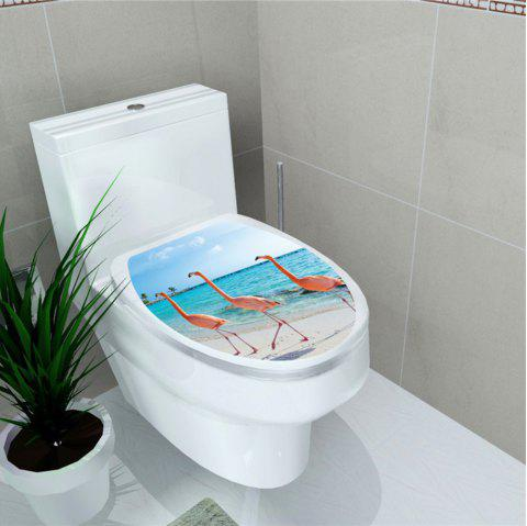 Toilet Sticker Animal World Flamingo Toilet Sticker Home Decoration Stickers - multicolor L 32*39