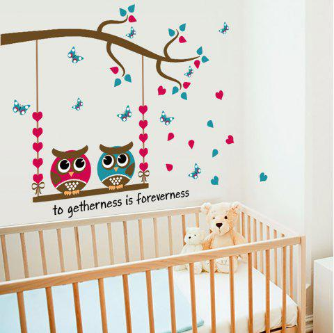 Cartoon Owl Love Butterfly Home Decoration Wall Sticker Removable - multicolor A 30*60CM