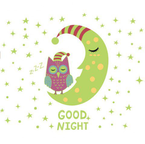 Cartoon Owl Moon Night  Luminous Fluorescent Wall Sticker Removable Sticker - multicolor A 30*60CM