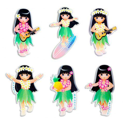 Hawaiian Girl Series Silicone Fridge Magnet Sticker Kids Gift - multicolor 6PCS