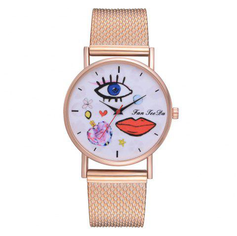 Silicone Quartz Watch Selling Pop Graffiti Han Edition Students Watch - ROSE GOLD