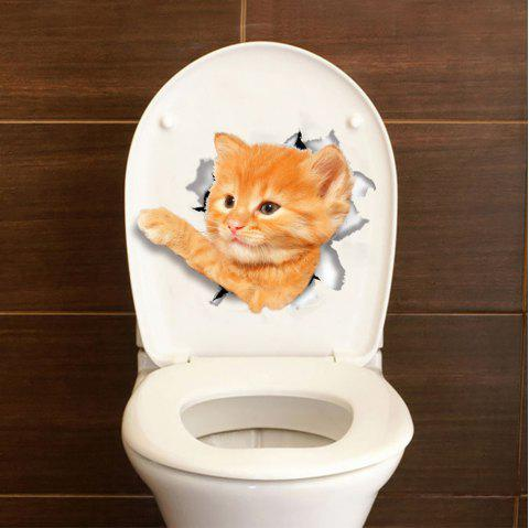 2PCS Cute Cat Hole 3D Bathroom Toilet Cover DIY - multicolor 2PCS