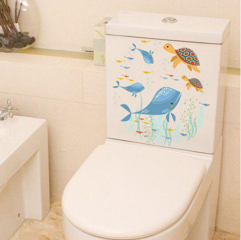 2PCS Underwater World Bathroom Removable Toilet Stickers Diy - multicolor 2PCS