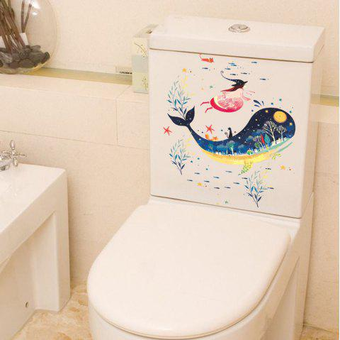 2PCS Whale 3D Autocollant Toilette Amovible Décoration Diy - multicolor 2PCS