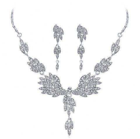 Angel Wings Temperament - Robe de mariée avec diamants et collier - Argent