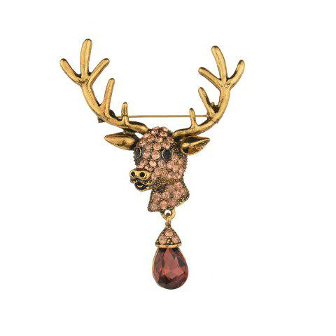 Fashion Creative Deer Head Brooch Commemorative Gift - GOLD 1PC