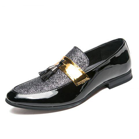 Men's Leather Shoes Fashion Nightclub Pointed Plus Size Shoes - SILVER EU 40