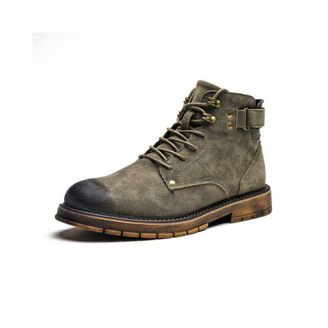 Autumn High Boots Men'S Desert Boots in The British Boots - ARMY GREEN EU 44