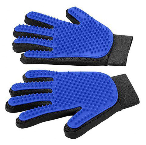 1 pair Pet Grooming Glove-Efficient Pet Hair Remover Mitt Perfect for Dog/Cat - BLUE