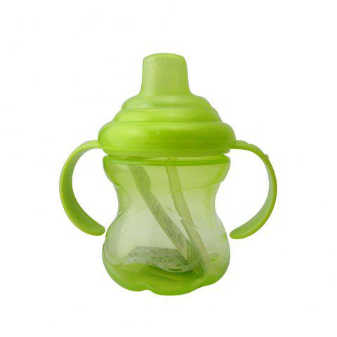 250ML Baby Sippy Cup Double Handle Infant Drinking Training Straw Bottle - GREEN