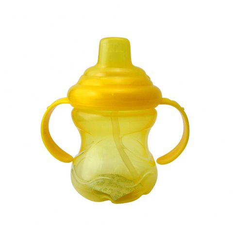 250ML Baby Sippy Cup Double Handle Infant Drinking Training Straw Bottle - YELLOW