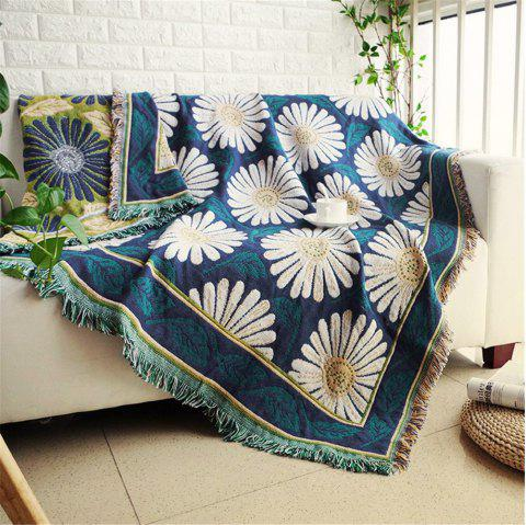 Blooming Daisy Pattern Blanket Sofa Decorative Slipcover Travel Blanket - multicolor A 90*90CM