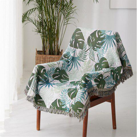 Monstera Leaf Pattern Blanket Sofa Decorative Slipcover Travel Blanket - multicolor A 90*90CM