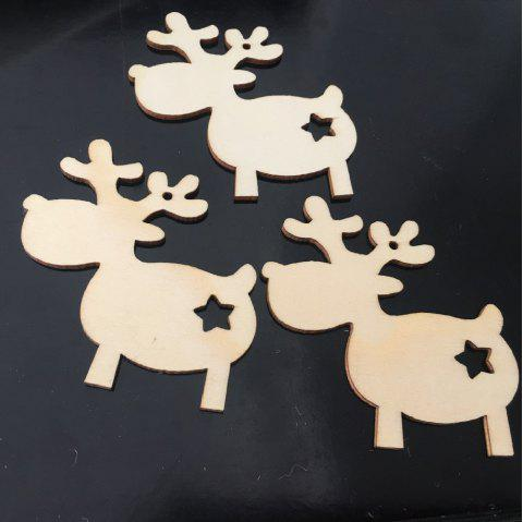 Organic Wood Christmas Milu Deer Decoration - CORNSILK 8.8CM*8CM