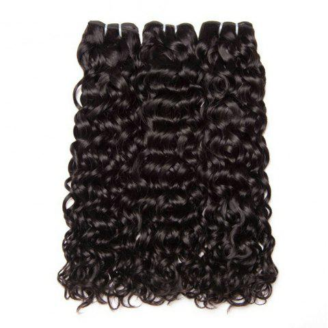Water Hair Bundles Indian Water Wave Human Hair 3 Bundles Curly Wave Bundles - NATURAL BLACK 14INCH X 14INCH X 14INCH