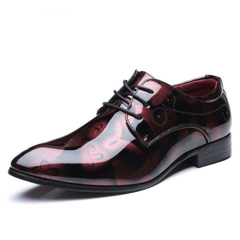 COSIDRAM Fashion Business Casual Men'S Leather Shoes Belt Shoes - CHERRY RED EU 48