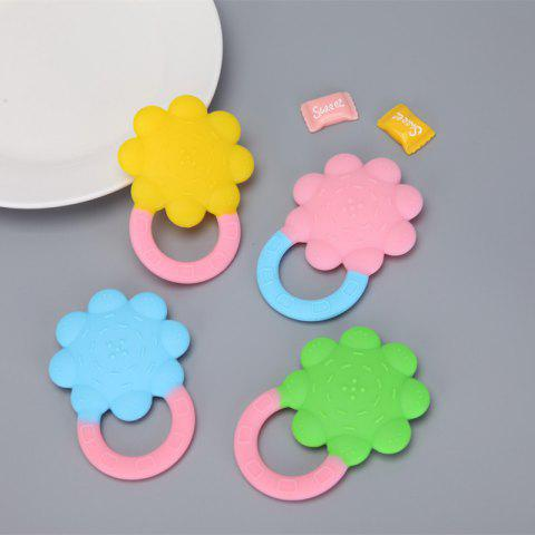Baby Teether Baby Silicone Molar Stick Baby Sun Flower Solid Tooth Storage Box - PINK