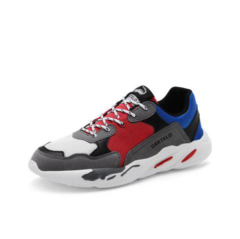 Summer Breathable Mesh Casual Shoes Sports Wild Running Men'S Shoes - multicolor B EU 39