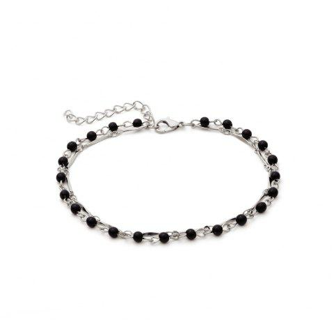 Simple Multi Layer Acrylic Handmade Beaded Anklet - SILVER 1PC