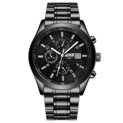 New Fashionable Men Black Steel Band Business Calendar Leisure Triple-Eye Watch - BLACK
