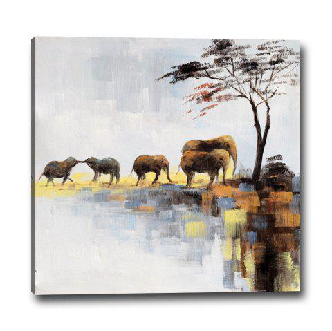 Simple Abstract Landscape Living Room Bedroom Background Decorative Printing - multicolor 40CMX40CM