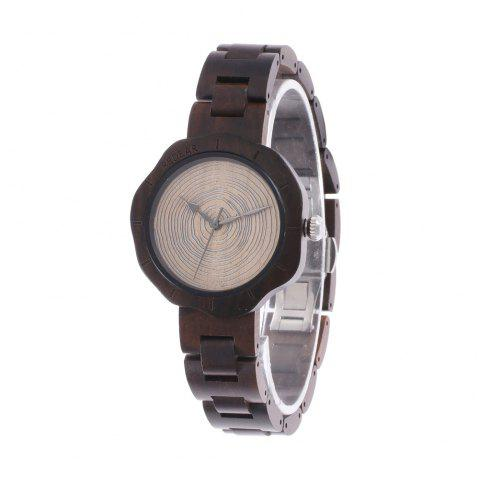 Classic Wooden Strap Wristwatch Natural Wood Quartz Watch - multicolor C