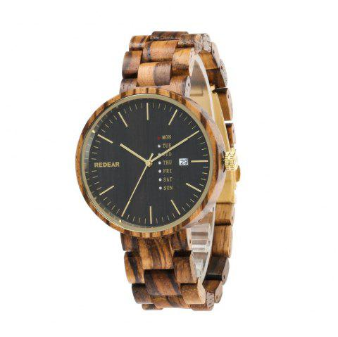 Personality Design Wristwatch Double Big Dial Wooden Quartz Watch - multicolor A