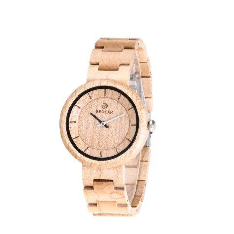 Vintage Wristwatch Big Dial Natural Wooden Quartz Watch - multicolor C