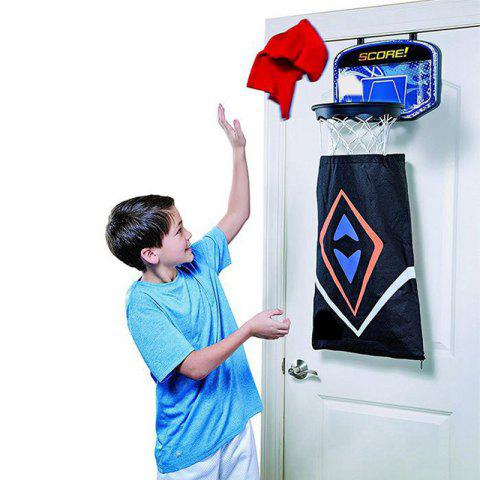 2 in 1 Over-The-Door Basketball Backboard Detachable Dirty Laundry Storage Bag - BLACK