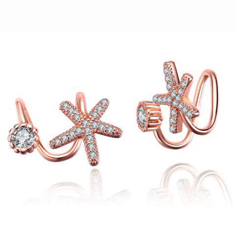 Enchanting Starfish With Zircon Earrings Gift Ear Nails Ear Drops Jewelry - ROSE GOLD 1 PAIR