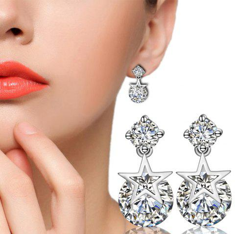 Silver Star-Studded Zircon Earrings Gift Ear Nails Ear Drops Jewelry - NATURAL WHITE 1 PAIR