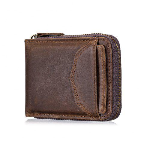 The First Layer of Leather Men's Casual Zipper  Function Wallet - DEEP COFFEE