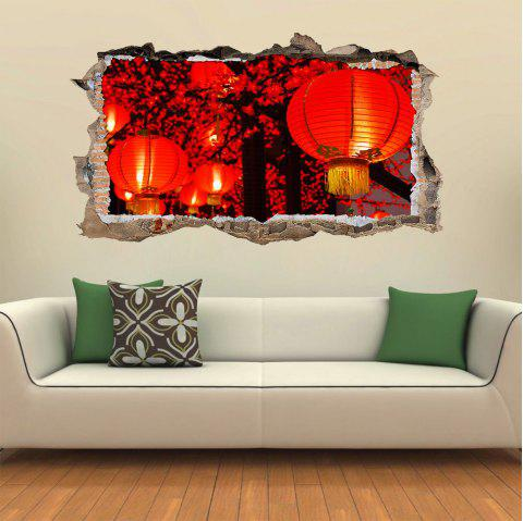 3D Wall Sticker Creative New Year Lantern Landscape - multicolor
