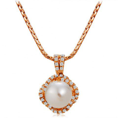 Inlaid Imitation Pearl Surrounded By Zircon Rose Gold Pendant Necklace - COPPER