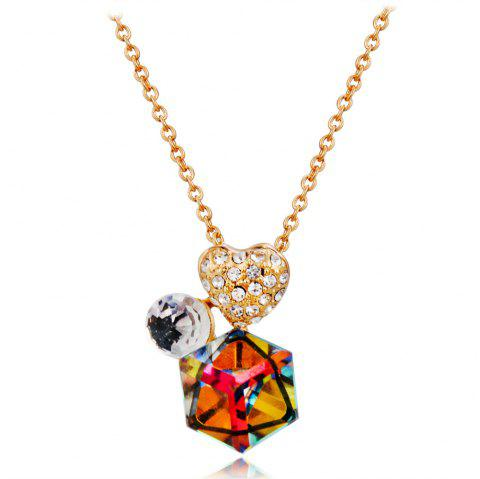 Golden Heart Zircon + Colored Crystal Pendant Necklace - GOLD
