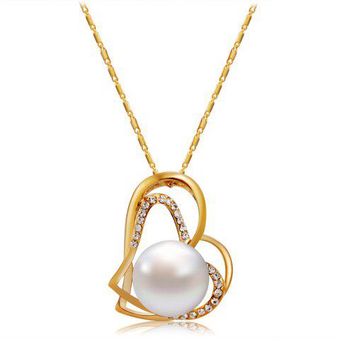 Gold Cutout Double Heart Shaped Zircon Imitation Pearl Pendant Necklace - GOLD