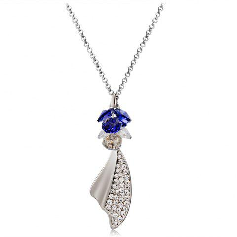 Purple Crystal Hanging Butterfly Wing with Zircon Necklace - SILVER