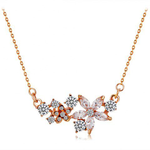 Five-Petal Crystal Flower with Zircon Pendant Necklace - COPPER