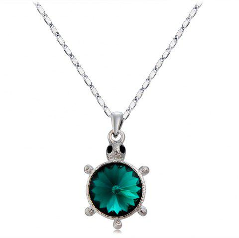 Silver Sea Turtle with Green Artificial Gemstone Pendant Necklace - SILVER