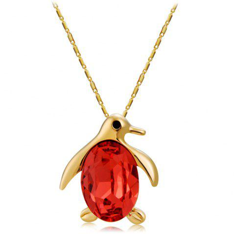 Golden Penguin with Red Crystal Pendant Necklace - GOLD